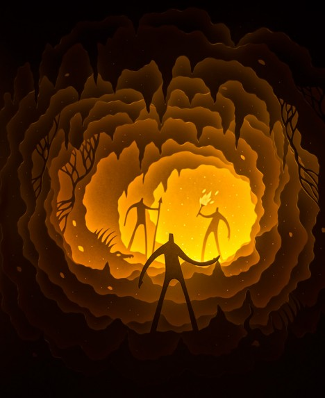 paper art cave people