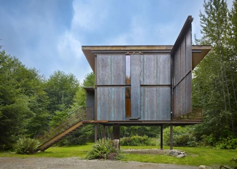 raised forest cabin steel
