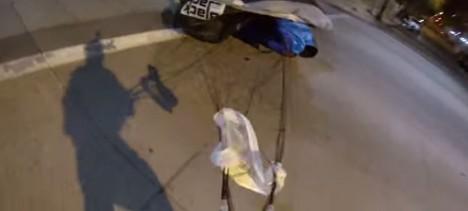 skydiving street landing