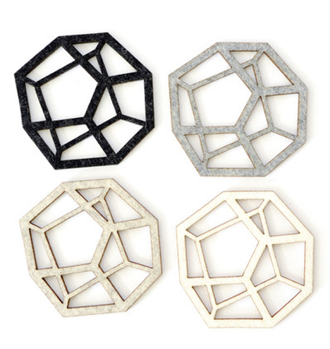 Geometric Home Pentahedron Coasters