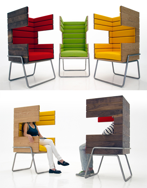Privacy Chairs Wood Booth