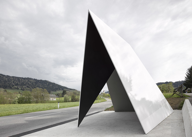 angled bus shelter