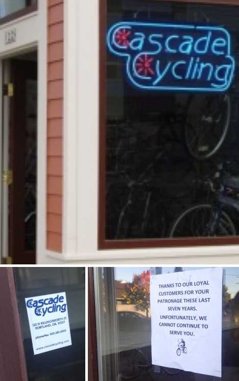 Cascade Cycling closed bike shop Portland