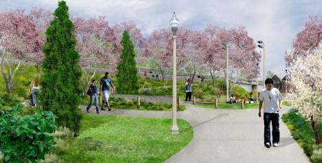bloomingdale trail sidewalk view