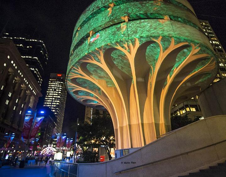 light art tree closeup