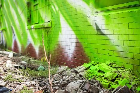 mural green white detai