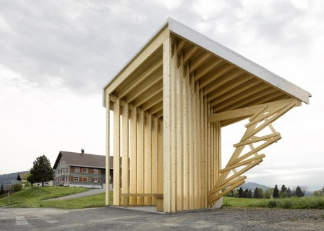 teired wood bus stop