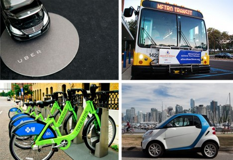 transit car bike bus
