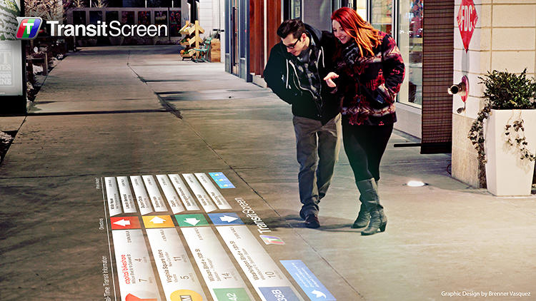 transit screen sidewalk projection