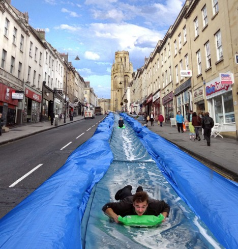 urban public water slide