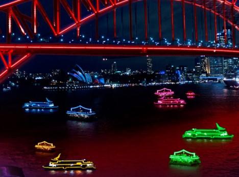 vivid sydney ferry lights