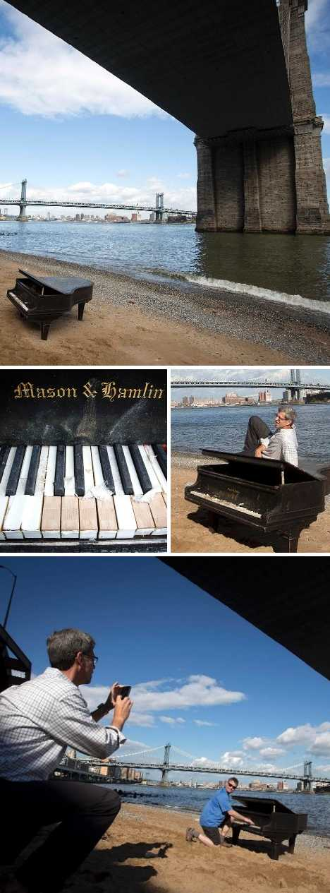 abandoned piano East River NYC