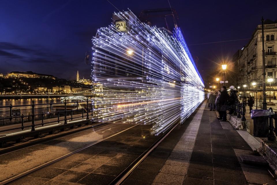 seasonal christmas tram lights