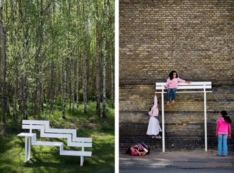 social bench city park