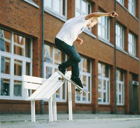 social bench skate boarder