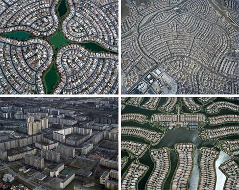urban sprawl seen from above