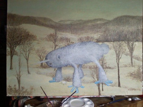 Sub-Arctic Land Narwhal Chris McMahon thrift shop monster painting