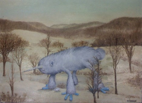 Sub-Arctic Land Narwhal Chris McMahon thriift shop monster painting