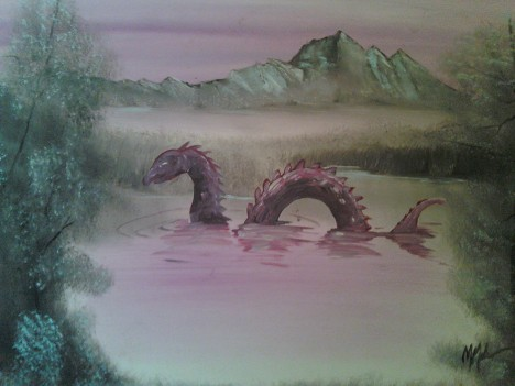 The Sea Serpent Chris McMahon thrift shop monster painting