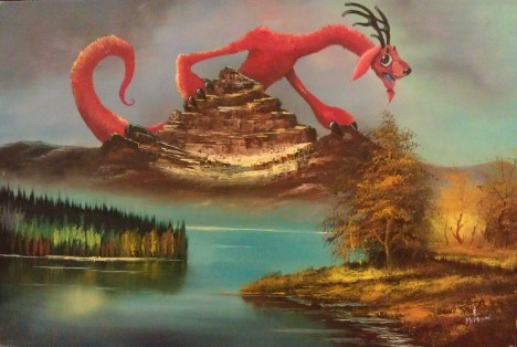 Untitled Chris McMahon thrift store monster oil painting