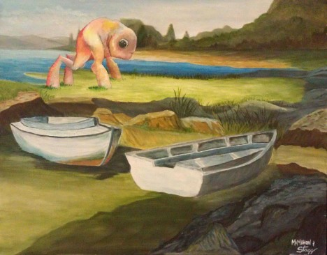 Chris McMahon thrift shop painting The Thing By The Boats