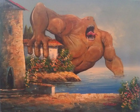 Chris McMahon Throat Shark Is Just Looking For A Good Time thrift store painting
