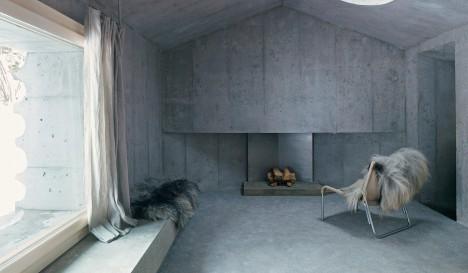 concrete cabin modern interior