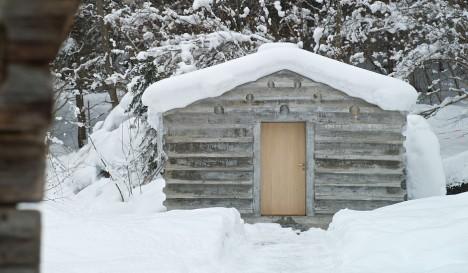concrete cabin wood door