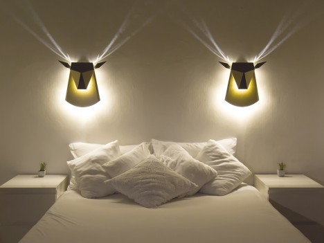 Head Light Popup Wall Lamp Has Horns that Glow in Shadows