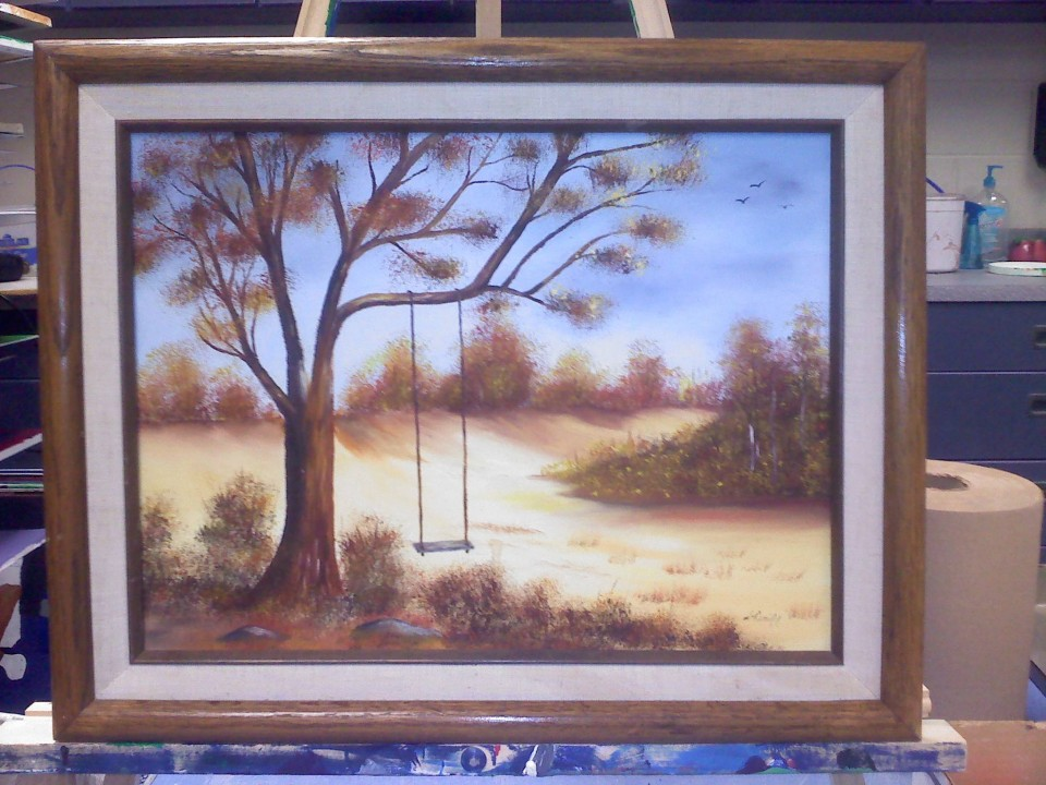Chris McMahon Empty Swing monster thrift store painting original