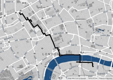 shortest walking route london