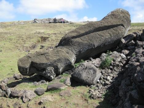 smashed statue Moai Easter Island