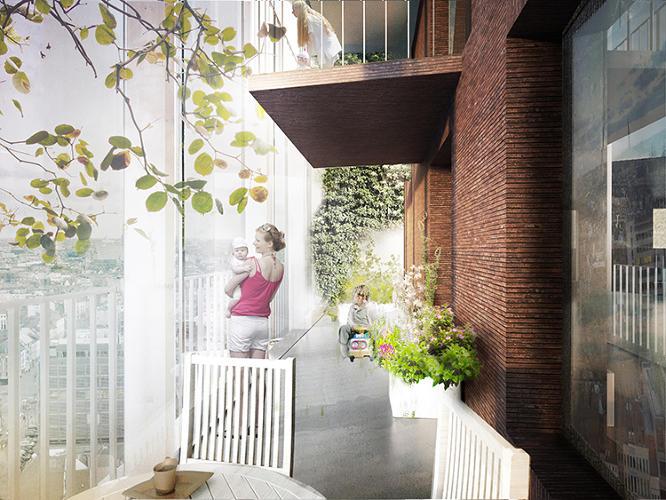 social apartment complex balconies
