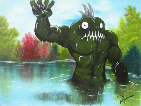 Swamp Monster thrift shop painting Chris McMahon