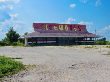 abandoned Boom City fireworks store stand Remington IN 1
