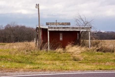 abandoned fireworks shack stand Iowa Hwy 81