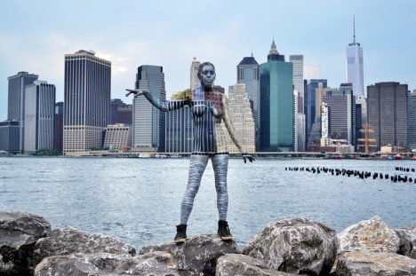 body paint manhattan skyline