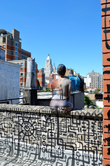 body painted empire state building