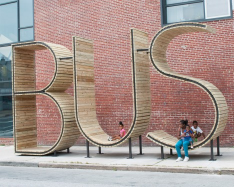 bus stop typographic installation