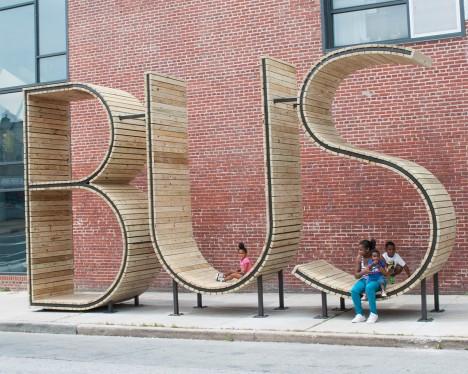 bus stop typographic installation