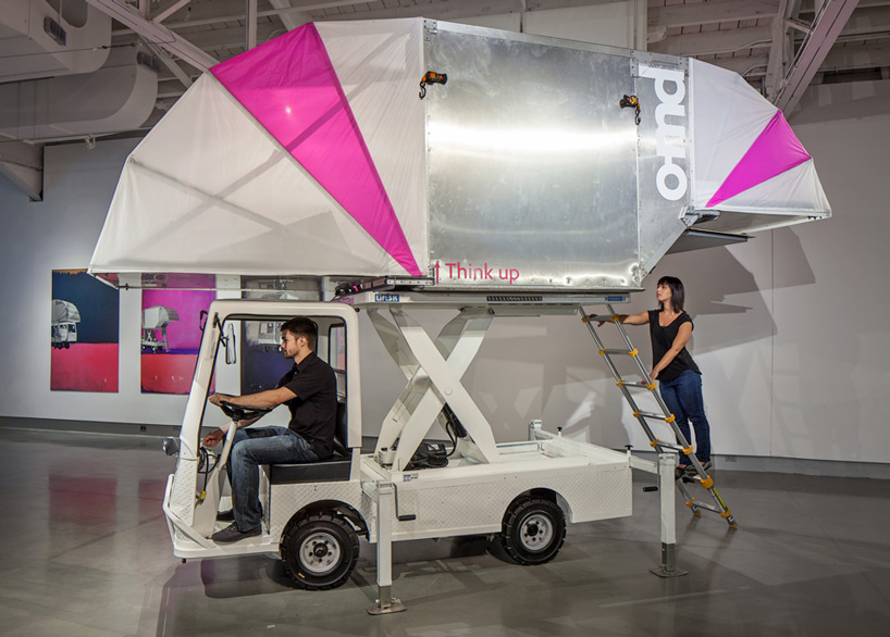 truckatecture scissor lifted shelter
