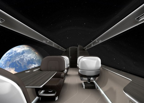 windowless plane space view