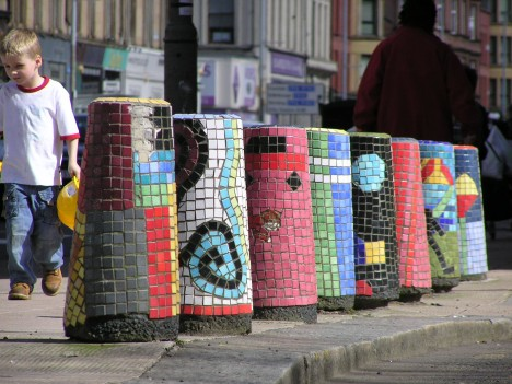 Mosaic-Traffic-Bollards-Glasgow-Scotland