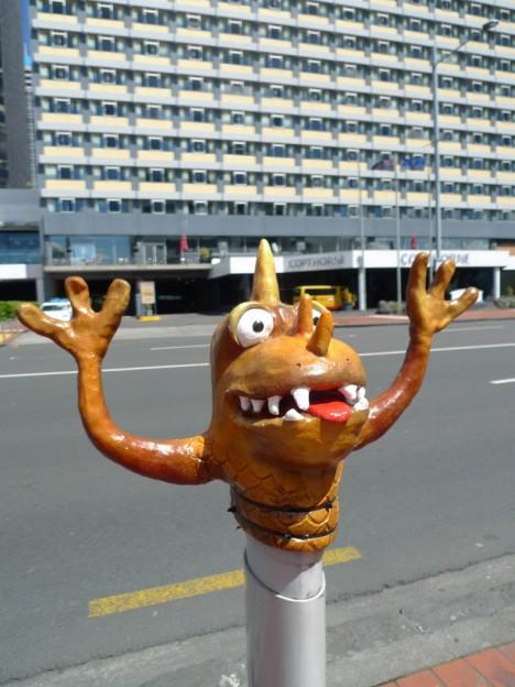 Quay Street Traffic Bollard monsters Auckland Art Week 1