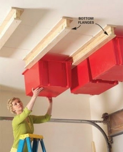 Small Space Hacks Ceiling Bins