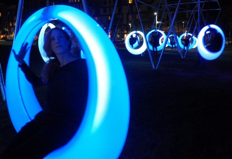 circular crescent moon swings