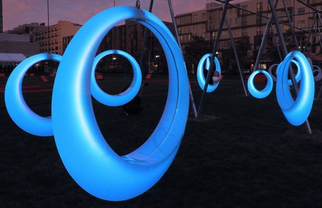 circular swing art installation