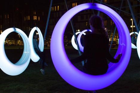 circular urban swing art