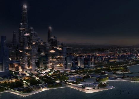 cloud city at night
