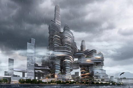 cloud city in rain